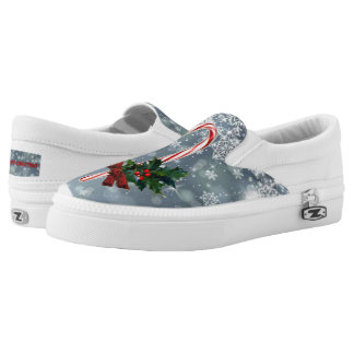 Candy Cane, Holly, and Bow Christmas Slip On