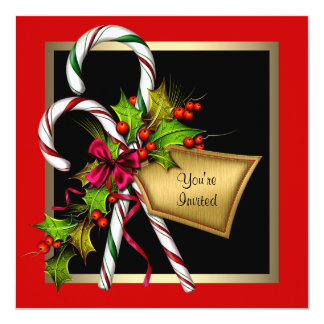 Candy Cane Holly Red Christmas Party Card
