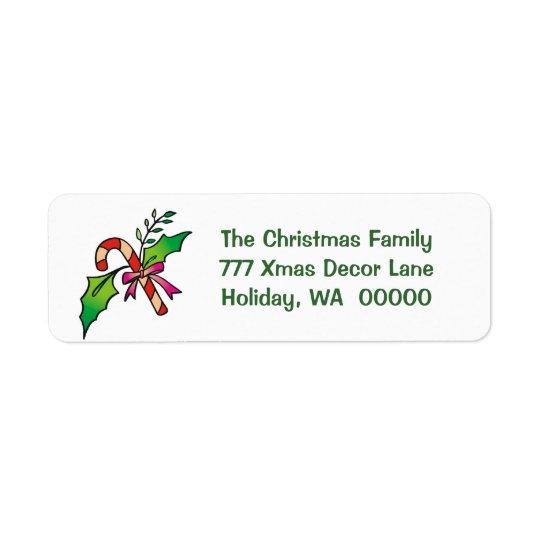 Candy Cane Holly Return Address Holiday Christmas