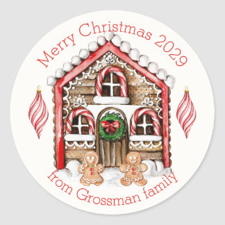 Candy cane house, gingerbread man, woman Christmas Classic Round Sticker