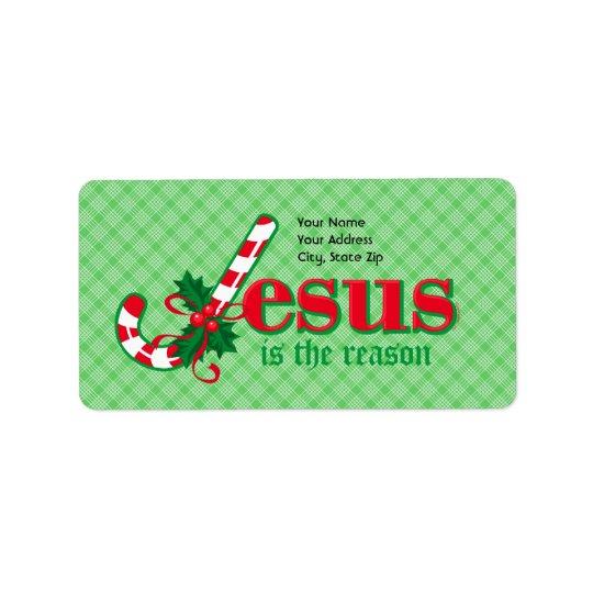 Candy Cane Jesus Address Label