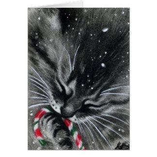 Candy Cane Kitten Card