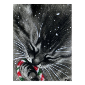 Candy Cane Kitten Cat Postcard