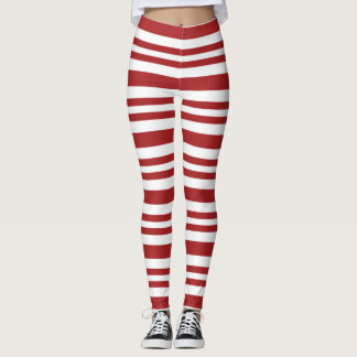 Candy Cane Leggings, Red and White Leggings