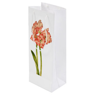 Candy Cane Lilies on Custom Gift Bag for Wine