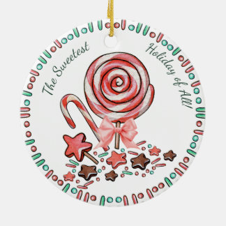 Candy cane lollipops chocolates Christmas ornament
