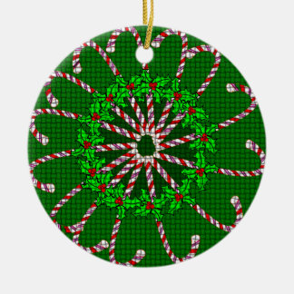 Candy Cane Mandala Christmas Ornament
