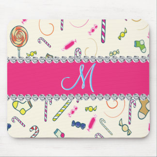 Candy Cane Monogram Hot Pink Diamond Initial Mouse Pad