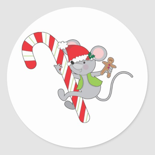 Candy Cane Mouse Round Sticker