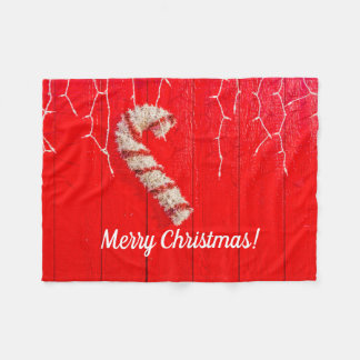 Candy Cane on Red - Christmas - Seasonal - Holiday Fleece Blanket
