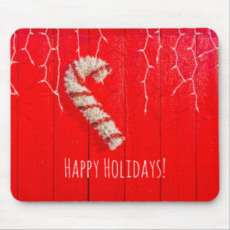 Candy Cane on Red - Christmas - Seasonal - Holiday Mouse Pad