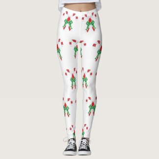 Candy Cane Pattern Christmas Leggings