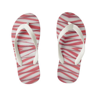 candy cane pattern kid's flip flops