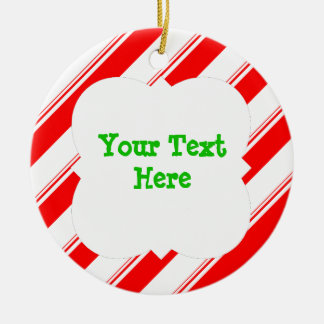 Candy Cane Personalized Ceramic Ornament