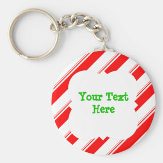 Candy Cane Personalized Keychain
