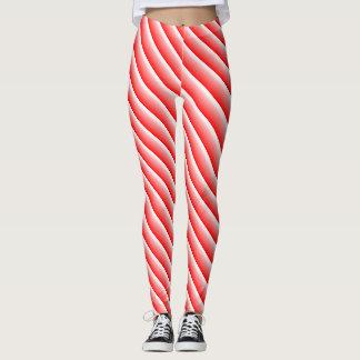 Candy cane racing stripe leggings