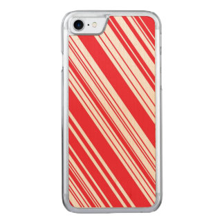 Candy Cane Red and White Diagonal Multi Stripes Carved iPhone 8/7 Case