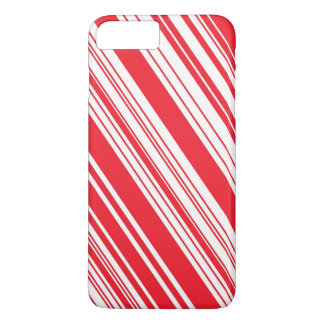 Candy Cane Red and White Diagonal Multi Stripes iPhone 8 Plus/7 Plus Case