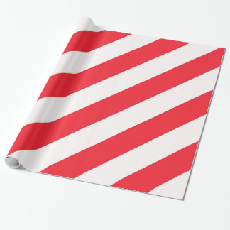 Candy Cane Red and White Diagonal Stripes Wrapping Paper