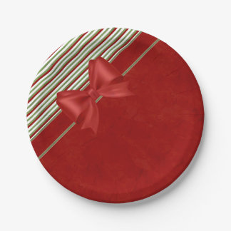 Candy Cane Red Bow 7 Inch Paper Plate
