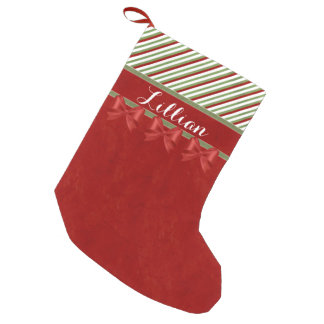 Candy Cane Red Bows with Name Small Christmas Stocking