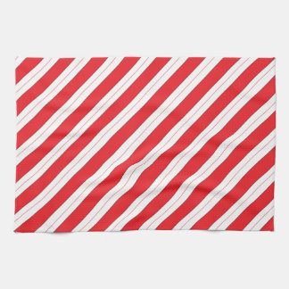 Candy Cane Red Stripes Kitchen Towel