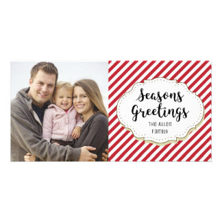 Candy Cane Red White Stripe Seasons Greetings Card
