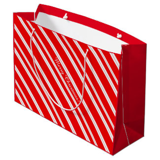 Candy Cane Red White Stripes Merry Christmas! Large Gift Bag