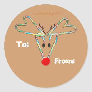 Candy Cane Reindeer Sticker Tag