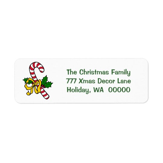 Candy Cane Ribbon Holiday Xmas Christmas Address