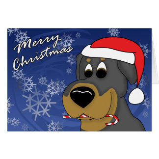 Candy Cane Rottweiler Christmas Card