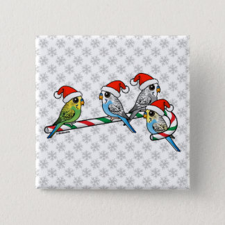 Candy Cane Santa Budgies 2 Inch Square Button