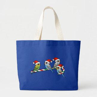 Candy Cane Santa Budgies Large Tote Bag