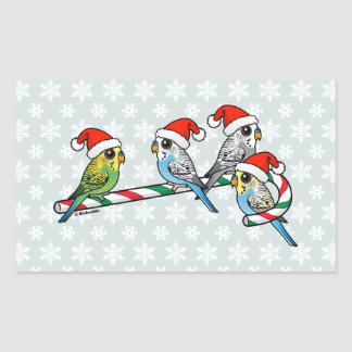 Candy Cane Santa Budgies Sticker