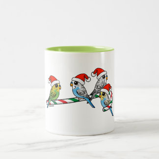 Candy Cane Santa Budgies Two-Tone Coffee Mug