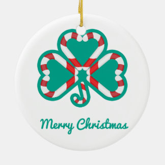 Candy Cane Shamrock Irish Dance Christmas Ornament