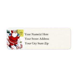 Candy Cane Skiing Santa Claus Vintage Return Address Label