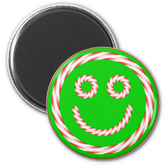 Candy Cane Smiley Face Magnet