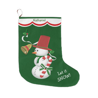 Candy Cane Snowman Large Christmas Stocking