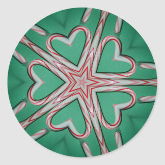 Candy Cane Star Round Sticker