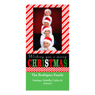 Candy Cane Stripe Christmas Photo Card