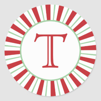 Candy Cane Stripe | Holiday Monogram Sticker
