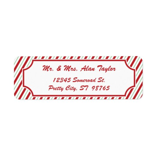 Candy Cane Stripe | Holiday Return Address Label