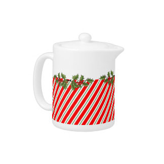 Candy Cane Stripe & Holly Holiday Teapot  - Small