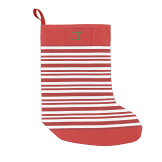 Candy cane striped Christmas stocking w/ initials
