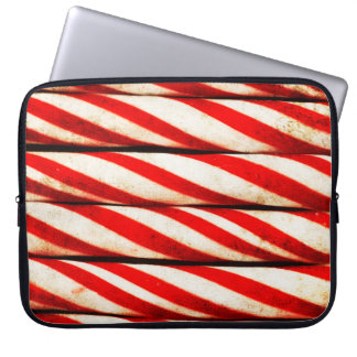Candy Cane Striped Red White Christmas Decoration Laptop Sleeve
