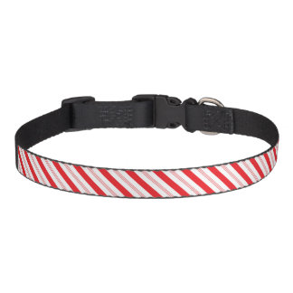 Candy Cane Stripes Patterned Dog Christmas Pet Collar