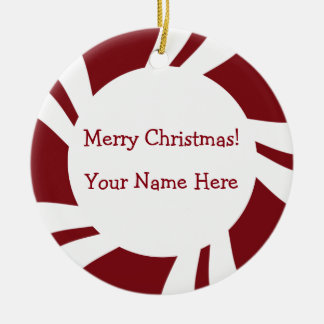 Candy Cane Stripes Red White Border Round Ceramic Ornament