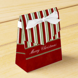 Candy Cane Stripes Rich Red and Bow Favor Boxes
