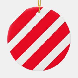 Candy Cane Stripes Round Ceramic Ornament